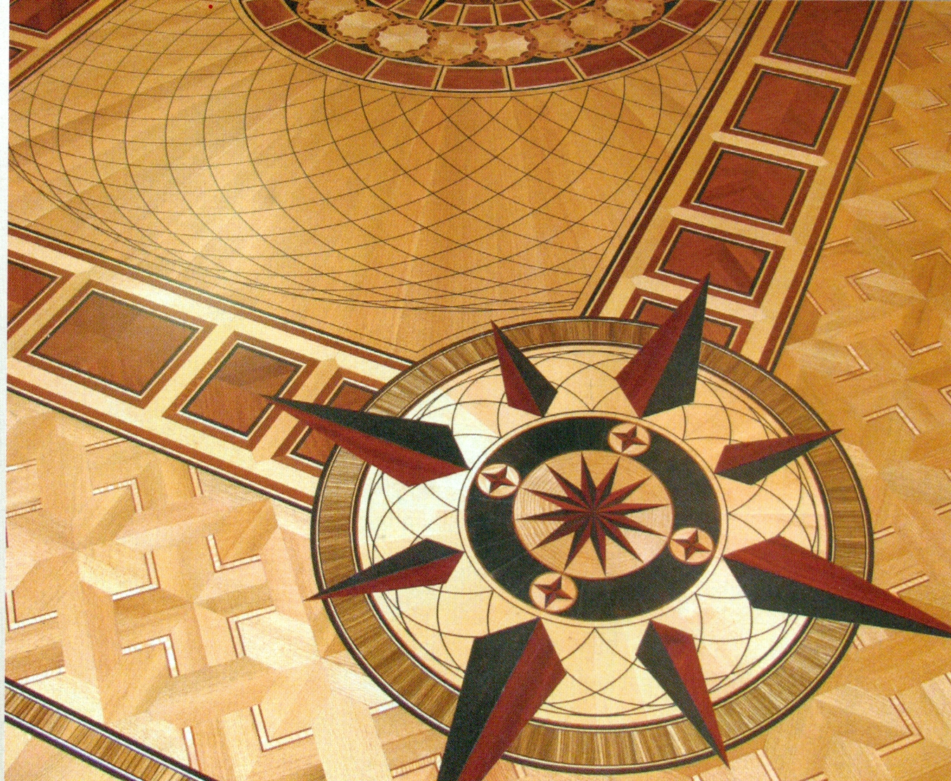 Hardwood Floor Inlays residential hardwood floor borders and inlays click to enlarge Parquetinlaysmedallions In A Very Custom Wood Floor